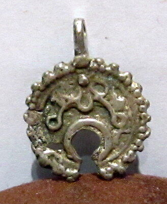 AMAZING ANTIQUE 15-16th.c.SILVER LUNULAE CRESCENT PENDANT  # 159