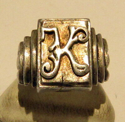 VINTAGE NICE MEN'S SILVER RING WITH MONOGRAM FROM THE EARLY 20th CENTURY # 20A