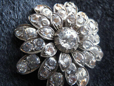 Made In France Paste Flower Brooch Silver Pin Antique Vintage Costume Jewelry