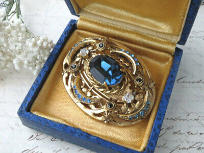 Blue Glass Gold Brooch Antique Vintage Costume  Jewelry Rhinestone France