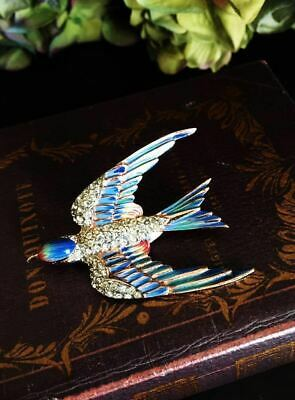 1940S Corocraft Sterling Silver Swallow Brooch Costume  Jewelry Vintage Antique