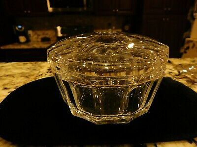 Vintage BACCARAT Clear Crystal Covered CANDY Dish with Lid
