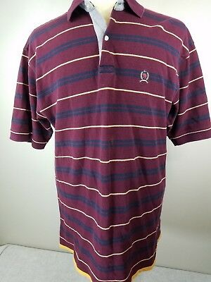Vintage Tommy Hilfiger Rugby Polo Style Mens Maroon  XL Striped Shirt   -ms3