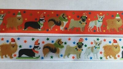 Berisfords Ribbon Christmas Dogs 25mm wide White or Red Per Metre