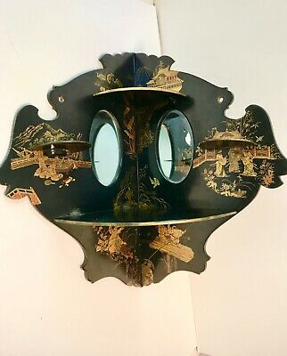 Antique Chinese Chinoierie Black Lacquer Corner Wall Shelf