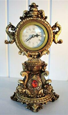 Vintage Ornate Jeweled Mantel Clock - Quartz Movement
