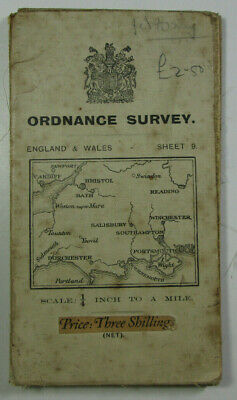 1913 Old Antique OS Ordnance Survey Second Edition Quarter-Inch Map 9 Bristol &c