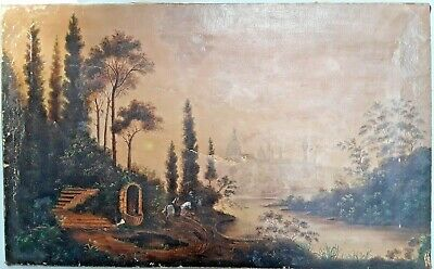 Antique 19th Century English or American School Folk Art Landscape Painting