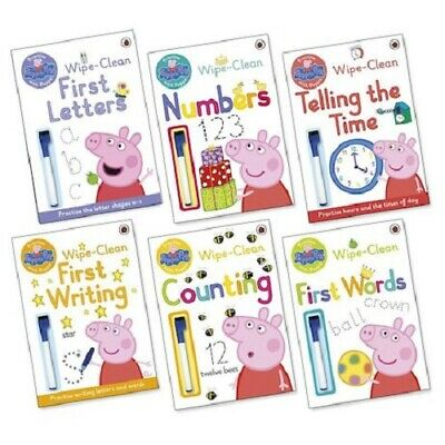 Peppa Pig Home Learning Book Pack Collection Wipe Clean (6 books) BRAND NEW