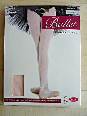 "SILKY Ballet Dance SEAMER Tights Pink Size Small S (32 - 36"") Opaque NEW Ladies"