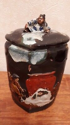 Antique Japanese Sumida gawa pottery tobacco /  ginger jar.