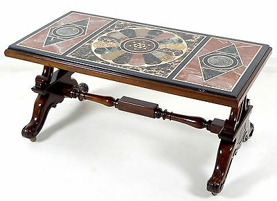 Antique Pietra Dura Table Top On A Mahogany Victorian Style Coffee Table Base