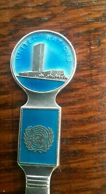 Vintage UNITED NATIONS Sterling Silver Souvenir Spoon Th. Marthinsen Norway