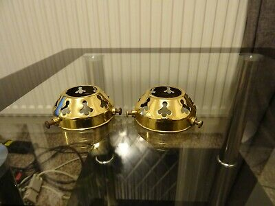 Vintage brass gallery fittings for lampshades - holophane