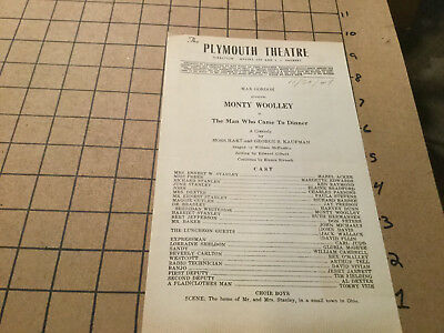 original program -- 11/30/1949 -- THE MAN WHO CAME TO DINNER - plymouth theatre