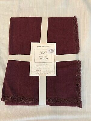 4 Williams Sonoma Fringed edge fringe placemats charcoal gray New wo tag