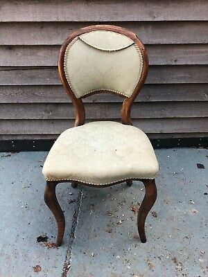 Antique Wood Upholstered Balloon Back Salon Chair, Circa 19th Century Furniture