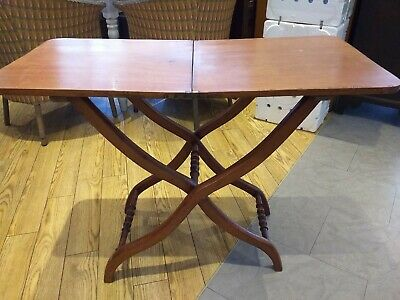 ANTIQUE VICTORIAN campaign field / folding butlers table c. 1850 MAHOGANY
