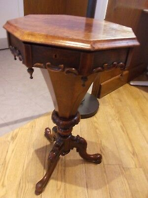 antique OCTAGONAL sewing table VICTORIAN WALNUT carved legs , original interior
