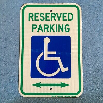 Authentic~Vintage~Metal Reflective Handicapped RESERVED PARKING Sign 18x12 Holes