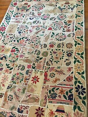Vintage Handmade Wall Tapestry Patchwork Hand Embroidered