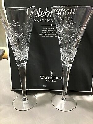 Waterford Crystal Celebration Toasting Flutes, 5th Ed Success, Used In Box