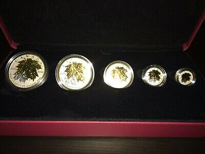 Maple Leaf  Silver Fractional Set with gold plating (2014)
