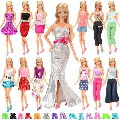 10 Set Fashion Handmade Clothes Outfit  10 Pairs Shoes for Barbie Doll Xmas Gift