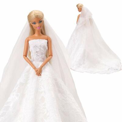 Wedding Dress White Princess Evening Party Clothes Wears Dress Outfit for Barbie