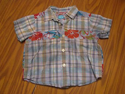 """The Children's Place"" Boys Blue Plaid Button Down Shirt Size 12 Months - A516"