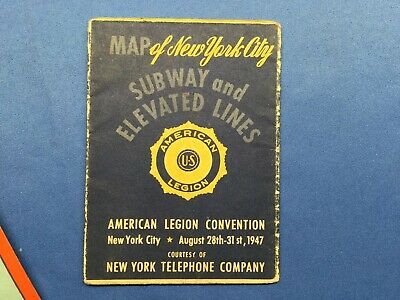 1947 Vest Pocket Map of New York City Subway Map Antique COLOR American Legion