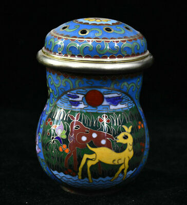"""4"""" Old Chinese Dynasty Palace Copper Cloisonne Animal Deer Flower toothpick"""