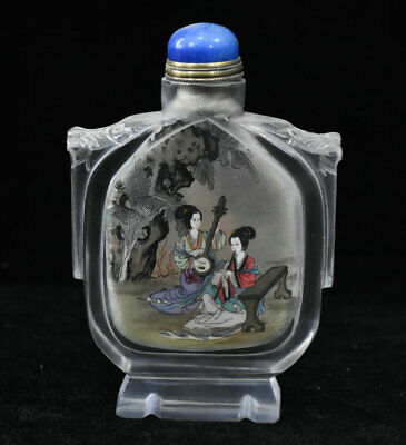 "5"" Chinese Colored Glaze Painted Handmade Beauties Woman Flower Snuff bottle"