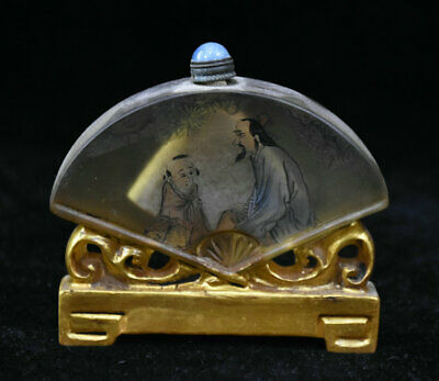 """3"""" Old Chinese Colored Glaze Painted Old Man With Boy fan-shaped snuff bottle"""