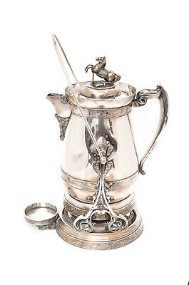 Antique Silverplate Tilting Water Pitcher With Horse Jumping Fence!
