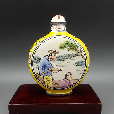 Chinese Copper Cloisonne Handmade Old man boating Snuff Bottles w QianLong Mark