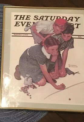 Norman Rockwell Framed SATURDAY EVENING POST Kids Playing Marbles, Lady Dresser