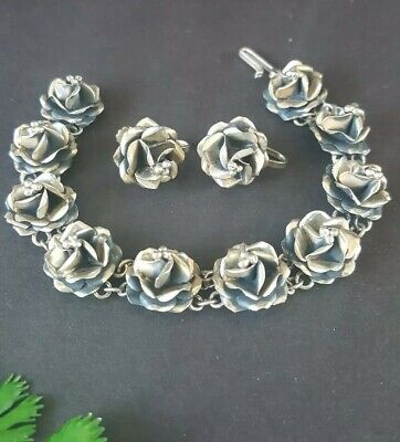 Vintage SCC Taxco Mexico Sterling Silver Roses Bracelet and Screw Back earrings