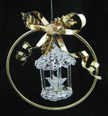 VTG SILVESTRI Spun Glass Dove Gold Bow Christmas Ornament Bird Cage Hand Crafted