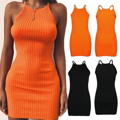Womens Summer Ribbed Bodycon Mini Dress Ladies Strappy Clubwear Party Dress Lot