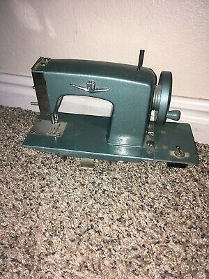 Vintage Green Miniature Sewing Machine Child's Toy AS IS