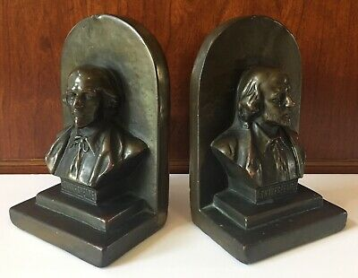Antique Vintage Cast Bronze Shakespeare Bust Pair Of Bookends