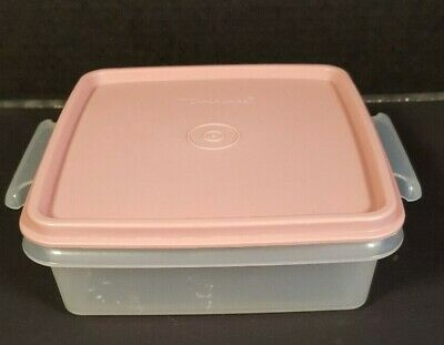 TUPPERWARE Square Away Sandwich Keeper Back to School Pink 1362 1363