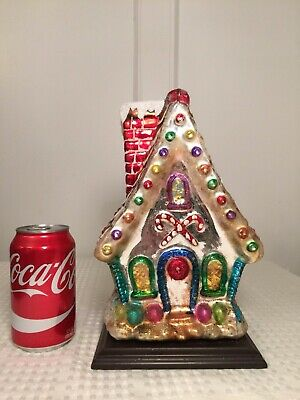 THOMAS PACCONI CLASSICS Large Blown Glass Gingerbread House Christmas Display