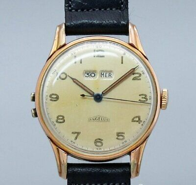 ANGELUS DATO12 Original Dial Arabic Index Hand Winding Vintage Watch 1940's