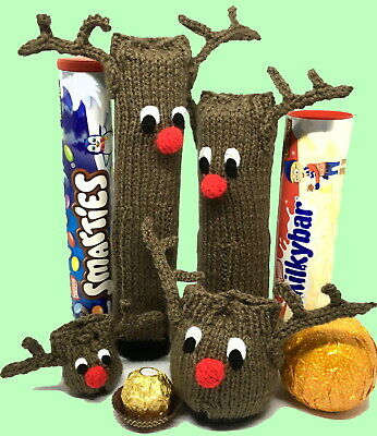 KNITTING PATTERN: Christmas Reindeer chocolate holders - all sizes