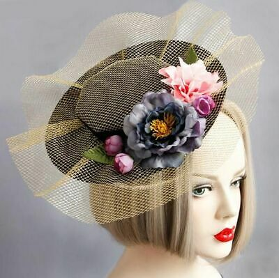 Women Gothic Flower Lace Top Hat Hair Clip Fascinator Vintage Cocktail Party New