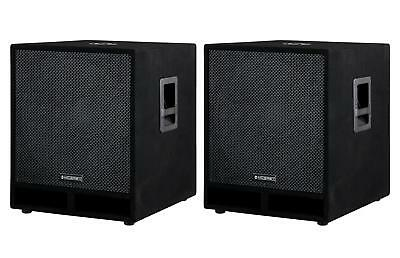 "2x Subwoofer DJ PA Speaker Bass Box Sub 18"" 45cm Monitor 1800W Passive Pair Set"