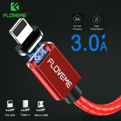 Braided Magnetic Lightning USB C Data Charger Charging Cable For iPhone Samsung
