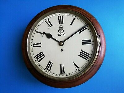 #025 Antique Grv 1910-1936 Mahogany Cased Chain Fusee Dial Wall Clock